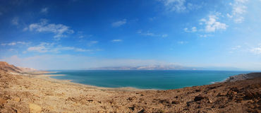 Dead sea. A panoramic view of the dead sea in israel Royalty Free Stock Photos