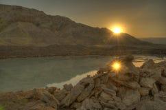 The dead sea. Reflection of the sun Stock Photo