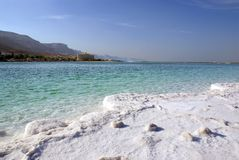 Dead sea. And coastline with hotels Royalty Free Stock Images