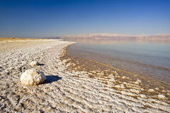 The dead sea. View from south to north of the west bank of the dead sea near Ein Gedi Stock Images