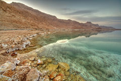 Dead Sea. Cost in Israel during sunset Stock Images