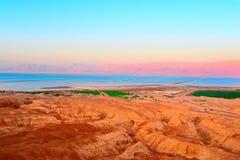 Dead Sea. Landscape Of Judea Mountains Near Dead Sea. Sunset Royalty Free Stock Photo