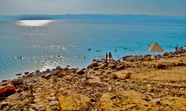 Dead sea beach. Most of the beaches on dead sea belongs to some of the 5 star hotels over there and they are very similar, rocky and sandy ,but in the same time Royalty Free Stock Photography