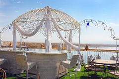 Moroccan restaurant on the shores of the Dead Sea, Beach Biankini, Israel Stock Photo