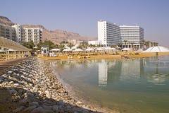 Dead Sea Beach .Ein Bokek,Israel. Dead Sea Beach with the hotels.Ein Bokek,Israel Stock Photography