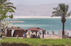 Dead Sea Beach at Ein Bokek Resort royalty free stock photography