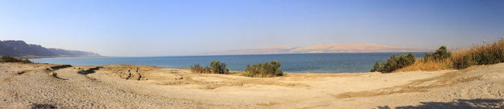 Dead sea beach panorama Royalty Free Stock Photos