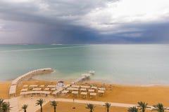 Dead sea beach shore tourist hotels,  Ein Bokek. Stock Photo