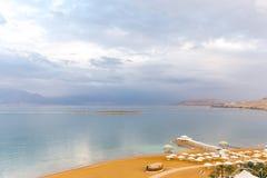 Dead sea beach shore tourist hotels,  Ein Bokek. Royalty Free Stock Photos