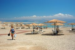 Dead Sea beach tourists at Ein Gedi resort,Israel Stock Photo