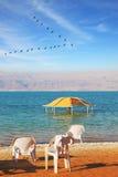 The Dead Sea, beach umbrellas and deckchairs Stock Photos