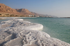 Dead Sea coast. Kind from outside the seas on coast and hotels Stock Image