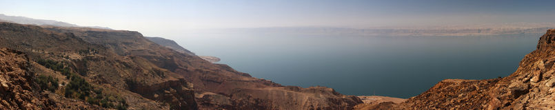 Dead sea coast on Jordan site - Israel in the distance (made from 18 vertical 10mpix pictures) Stock Photos