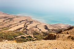 Dead sea coastline view high angle from above, old ruins. royalty free stock image