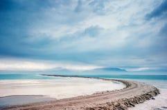 Dead Sea coastline. View of Dead Sea coastline and Jordan mountains royalty free stock photos