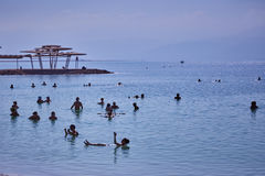 Dead sea - 24.05.2017: Dead sea, Israel, Tourists swim in the w. Ater royalty free stock images