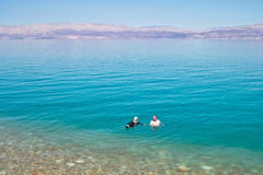 Dead Sea Engedi. People swimming in the Dead Sea, Engedi, Israel Royalty Free Stock Photography