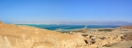 The Dead Sea, Israel. A panoramic view of the Dead Sea in the Yehuda desert, Israel royalty free stock image