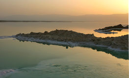 Dead Sea, Israel. A peninsula on calm water at sunset/sunrise Stock Photography