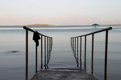 Dead Sea Israel handrails for entry royalty free stock images
