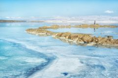 Dead sea in Israel. Dead sea/Lake of salt in Israel Royalty Free Stock Images