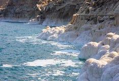 Dead Sea in Jordan, Israel. Salt coast of the Dead Sea in Jordan Stock Photos