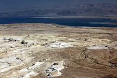 Dead sea and Jordan Mt, view of ancient city Masada, Israel Stock Photos