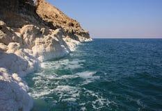 Dead Sea in Jordan. Salt coast of the Dead Sea in Jordan Royalty Free Stock Image