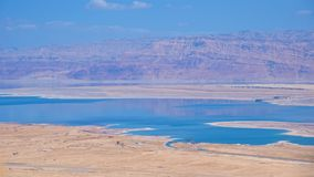 Dead Sea with Judea Desert and mountains in Jordan Royalty Free Stock Photos