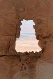 Dead Sea landscape through jagged window Stock Photography