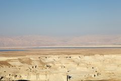 The Dead Sea. Landscape from Masada, Israel, with the Jordan mountain in the background. Its surface and shores are 423 metres below sea level.  is 377 m deep Stock Image