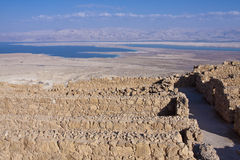 The dead sea from Masada. The dead sea as it seems from Masada - Israel Royalty Free Stock Photography