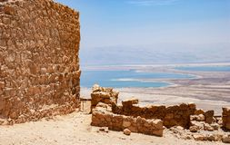 The Dead Sea from Masada Fortress Park stock photography