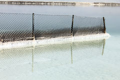 Dead sea. Metal mesh fence royalty free stock image