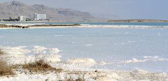 Dead sea mineral coast panorama. Royalty Free Stock Image