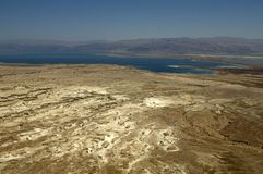 Judean desert and dead sea view from top of Masada royalty free stock image
