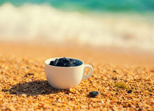 Dead sea mud in a cup on the beach Royalty Free Stock Photos