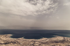 Dead Sea Panorama Israel. Dry Desert soil in an old river bed at the dead sea in Israel Stock Image