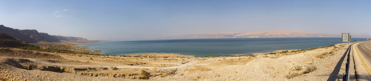 Dead sea panorama from the road going around it Stock Images