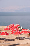 Dead Sea Park. A cluster of public sun shelters on the Dead Sea beach at Ein Gedi National Park Stock Photography