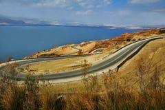 Dead Sea Road. Scenic view of road along the shoreline of the Dead Sea in Amman, Jordan Stock Image