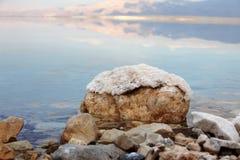 Dead Sea Salt. At rocks stock photo