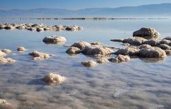 Dead sea salt on beach at sunrise. Israel stock image