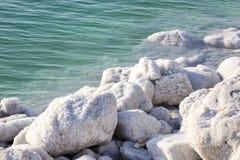 Dead Sea salt deposits stones. White crystals royalty free stock photo