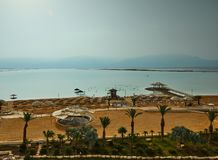 Dead Sea, is a salt lake bordering Jordan to the north, and Israel to the west royalty free stock photography