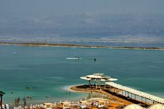 Dead Sea, is a salt lake bordering Jordan to the north, and Israel to the west royalty free stock photo
