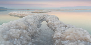 Dead Sea Salt Ribbons at Sunset Royalty Free Stock Images