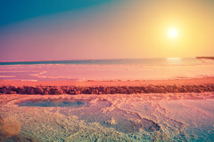Dead sea salt shore Royalty Free Stock Images
