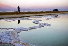 Dead sea salt and water Stock Photos