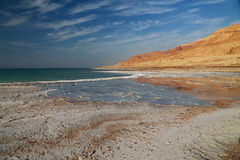 Dead Sea Salts. The Dead Sea contains the highest proportion of salts in the world, when the water dry it turns into different shapes, this kind of salt is rich stock photo